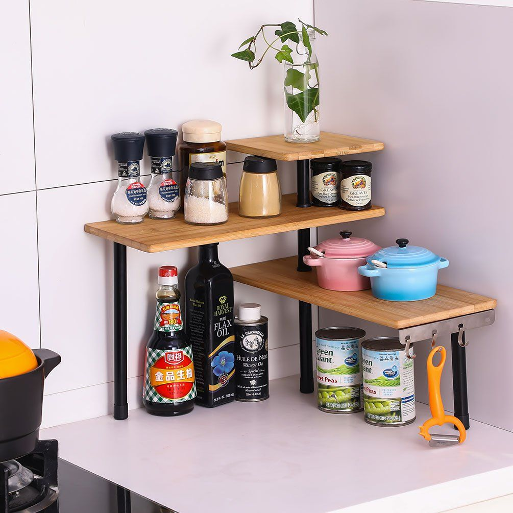 How To Declutter The Kitchen Counter Kitchen Counter Storage Tips And Ideas Kims Home Ideas In 2020 Kitchen Counter Storage Kitchen Shelves Organization Kitchen Counter