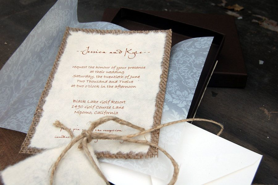 tie the knot wedding invitations etsy%0A Do It Yourself DIY Rustic Burlap and Vellum Lace Wedding Invitation in  Envelope  Rustic Barn