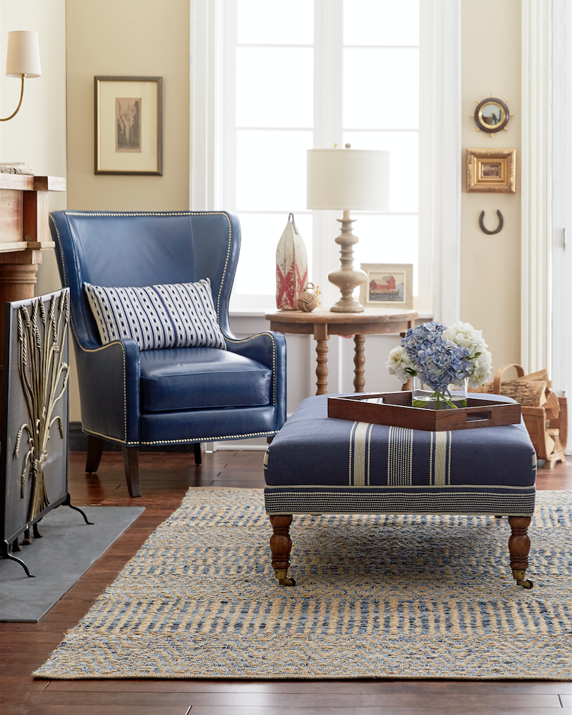 Traditional Neutral Living Room With Rich Navy Blue Accents In Linen And Leather Living Room Leather Quality Living Room Furniture Blue Dining Room Decor #navy #living #room #furniture