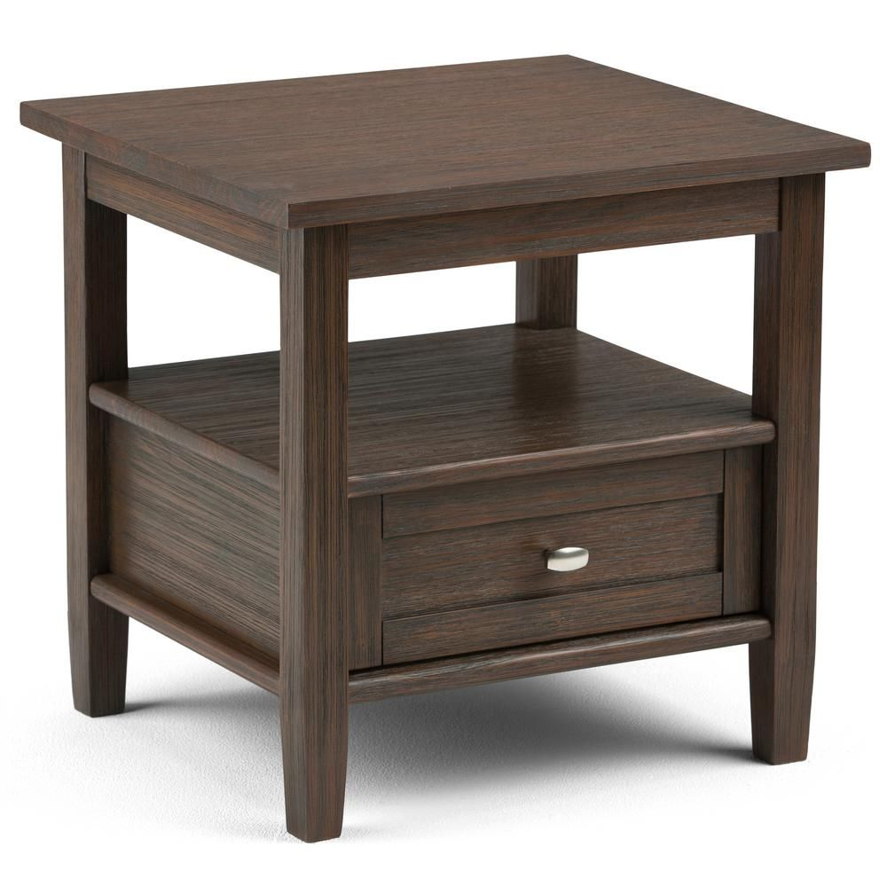 Solid Wood Nesting Tables Pottery Barn: Simpli Home Warm Shaker Solid Wood 20 In. Wide Rustic End