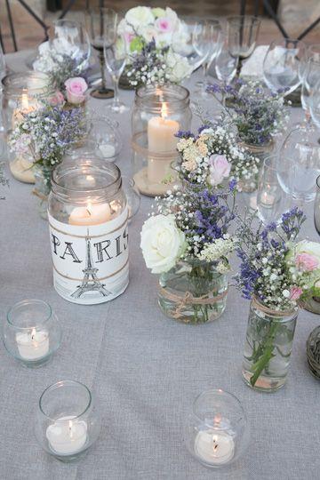 Deco mesas cristal y flores sencillas Graduation Decorations - bodas sencillas