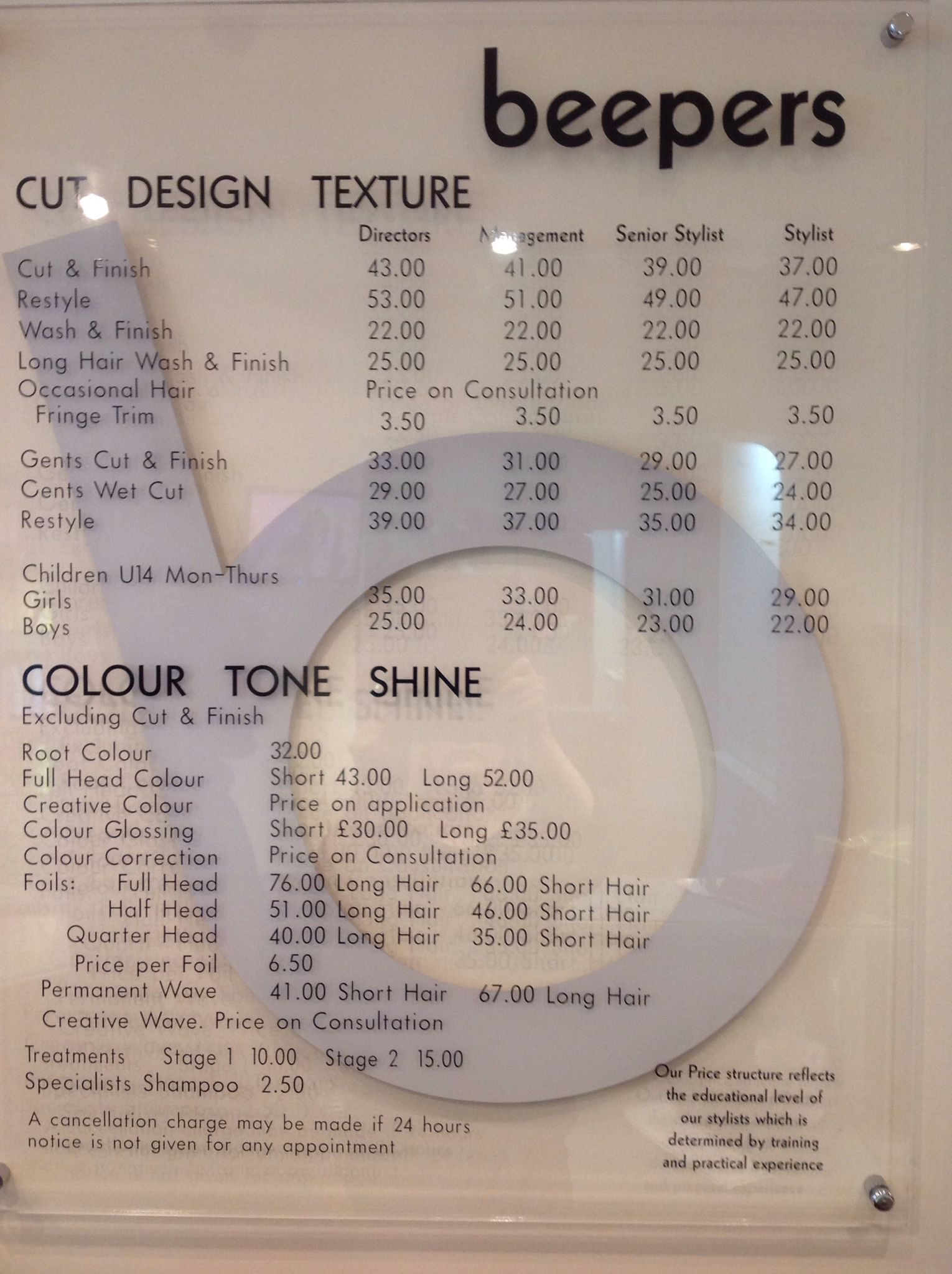 Beepers Hair Price List Hairdressing Salon Price List Washing Hair Hairdresser