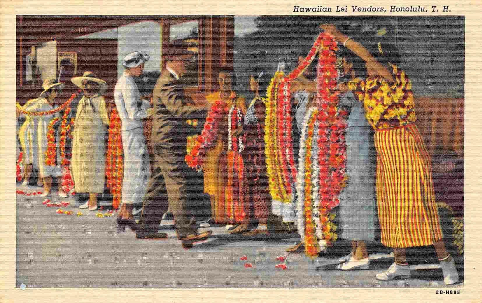 Hawaiian Lei Sellers Greeting Visitors Hawaii 1940s linen postcard