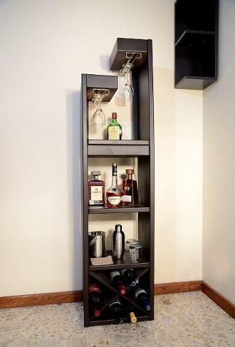 Cantina minimalista con luz de madera mdf chocolate for Mini casa minimalista