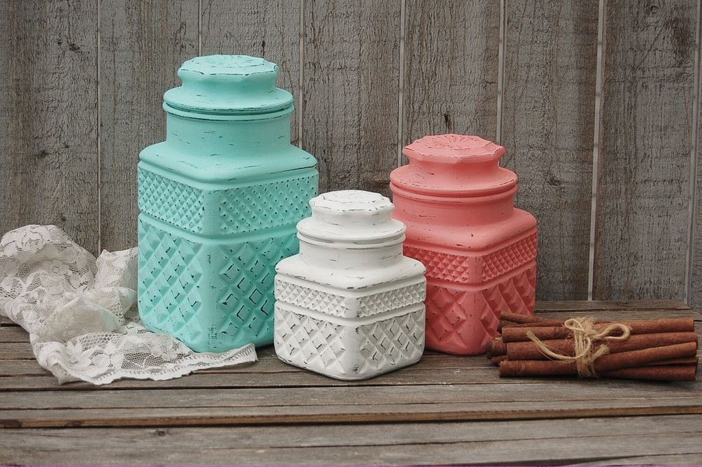 Mint Green And Coral Kitchen Canister Set
