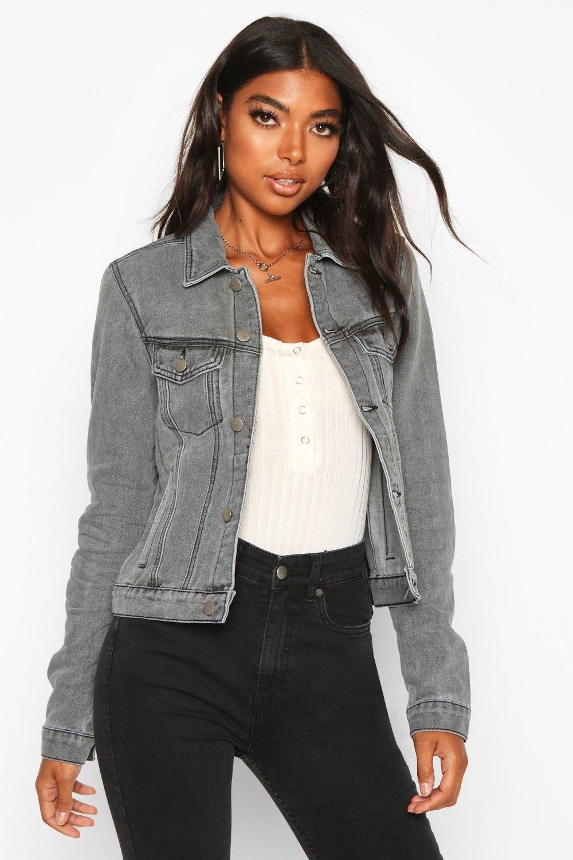 Tall Slim Fit Denim Jacket Boohoo Denim Jacket Jacket Outfit Women Grey Denim Jacket [ 1500 x 1000 Pixel ]