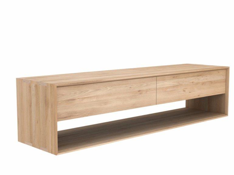 Mueble TV bajo de madera maciza OAK NORDIC   Mueble TV de madera ...
