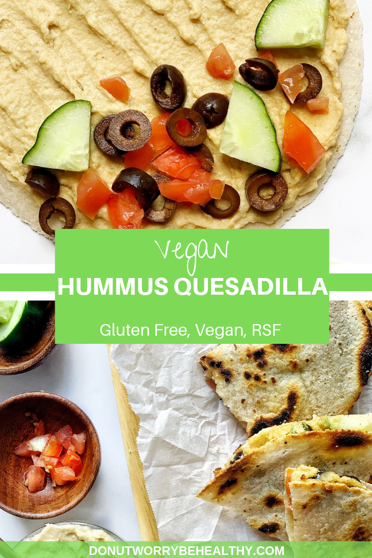 This Vegan Quesadilla Recipe Is Made With Your Favorite Hummus Stuffed In Between Two Gluten Free Tortillas Piled Quesadilla Quick Meals Gluten Free Tortillas
