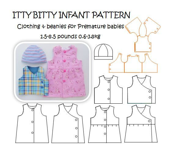 ITTY BITTY INFANT Premature baby Sewing Pattern 0.6 to 3.8kg - 1.5 ...