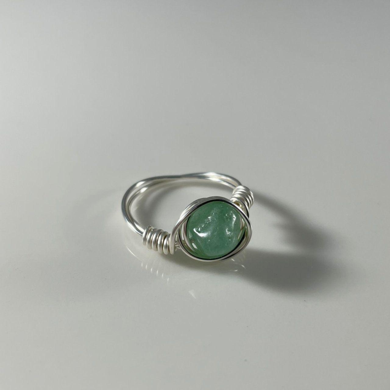Crystal Rings Oval Jade Wire Wrapped Ring Statement Gemstone Rings Handmade Rings