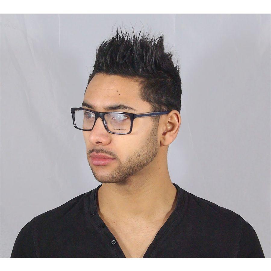 3e7564fd08394 Óculos Grau Masculino Emporio Armani Acetato Azul Ótimo Preço   Style
