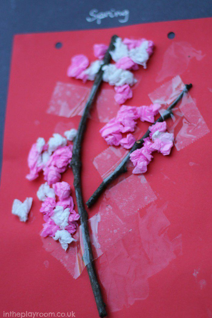 Scrunched Tissue Cherry Blossom Tree Craft