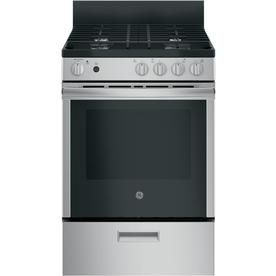 Ge 4 Burners 2 9 Cu Ft Manual Cleaning Freestanding Gas Range Stainless Steel Common 24 In Actual 24 In Jgas640rm Oven Cleaning Steam Cleaning