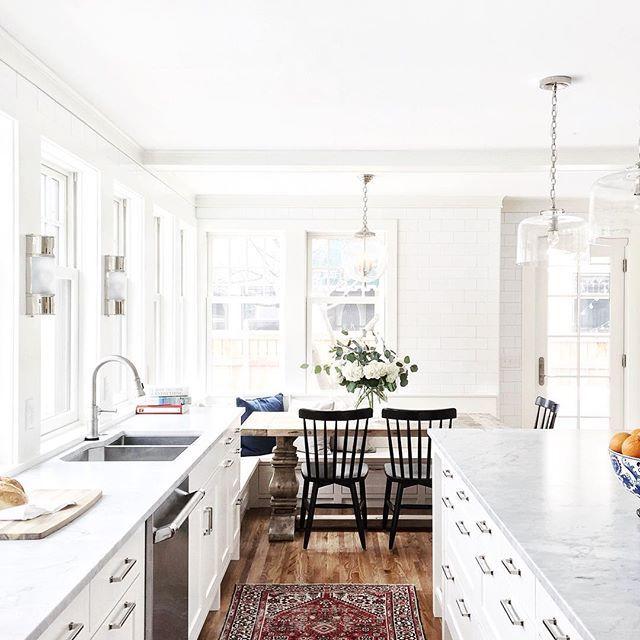White Kitchen + Breakfast Nook, Black Chairs