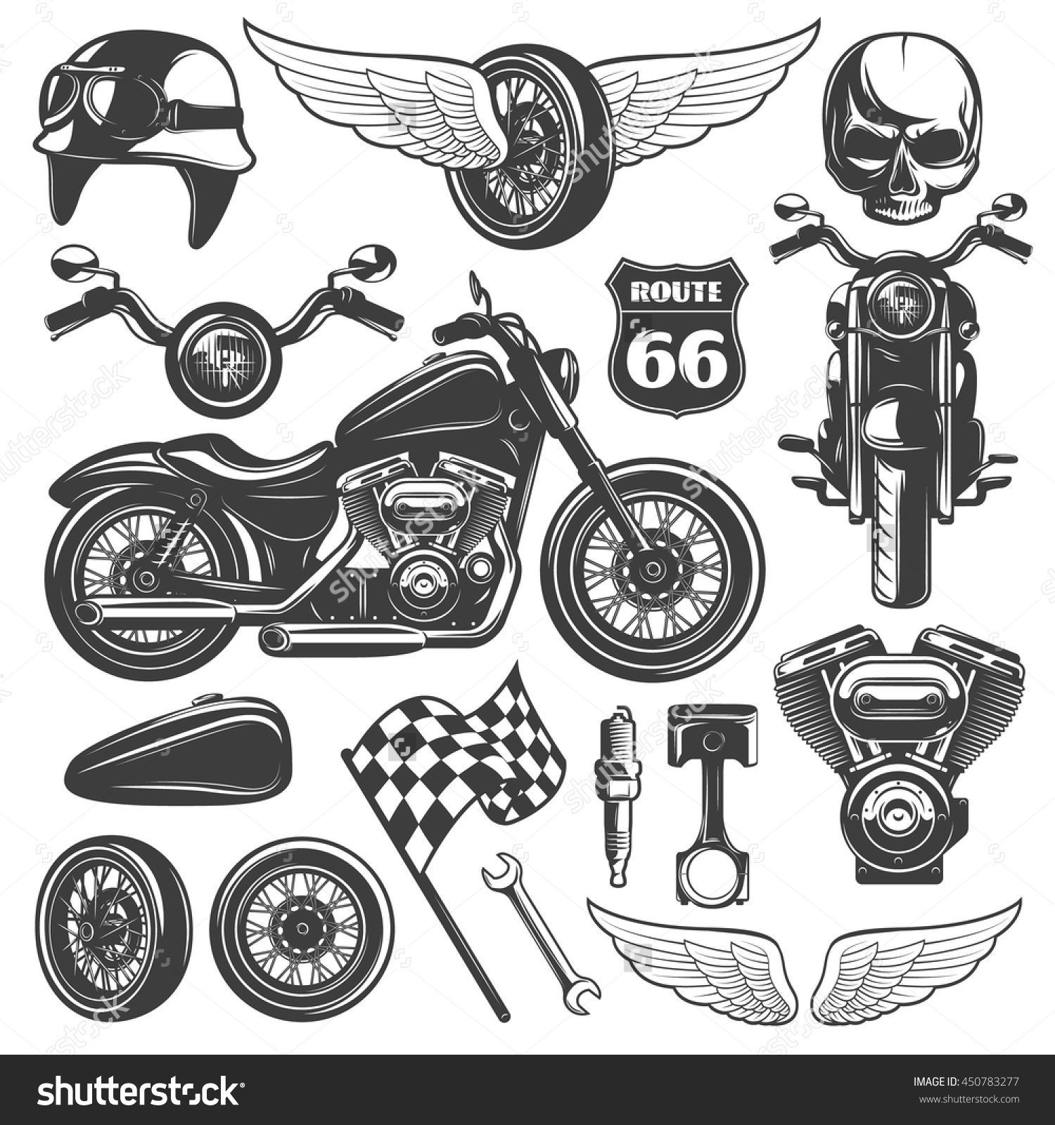 Motorcycle Black Isolated Icon Set With Recognizable Objects And Attributes Of Bikers Vector Illustration 450783277 Motorcycle Icon Biker Tattoos Icon Set
