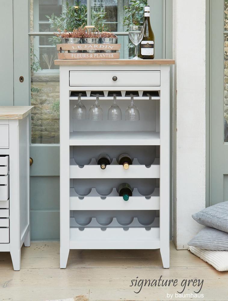 Signature Grey Wine Rack and Glass Storage Unit