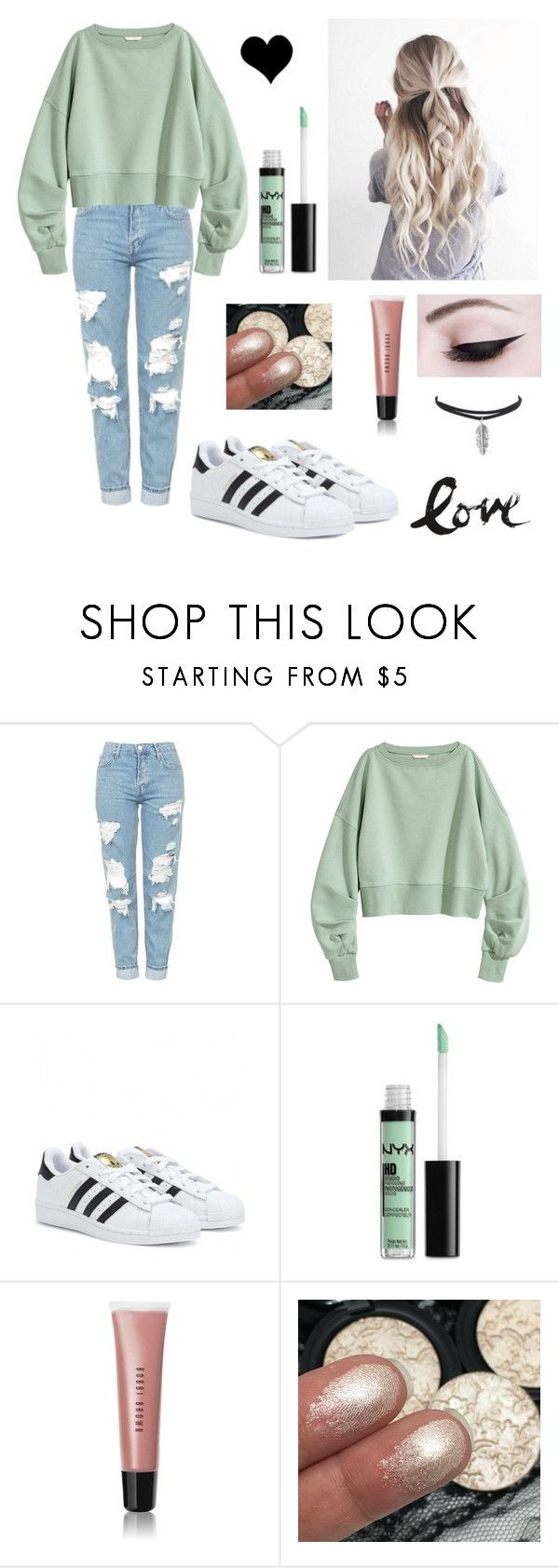 """Mom Jeans + Sweater"" by sav16 ❤ liked on Polyvore featuring Topshop, adidas, NYX and Bobbi Brown Cosmetics"
