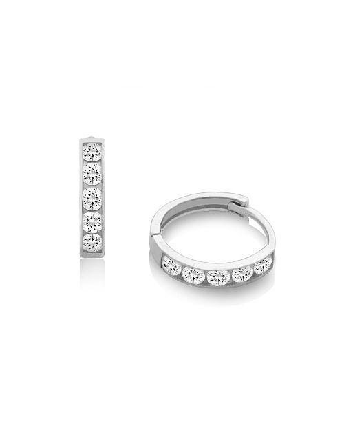14k White Gold And Diamonlux Cz Earrings For Children Tweens S
