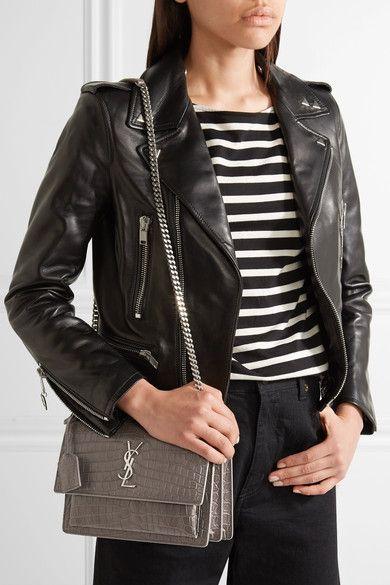 9df46ab9ec70 Saint Laurent - Sunset Medium Croc-effect Leather Shoulder Bag - Dark gray