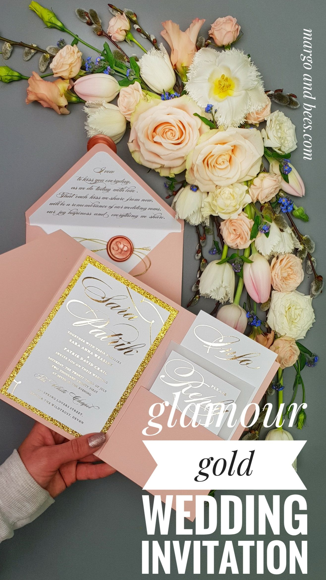glamour wedding invitations, pink glitter wedding invites, custom wax seal wedding stationery, vellum envelopes and blush pink envelopes with silver liner perfect for spring outdoor weding