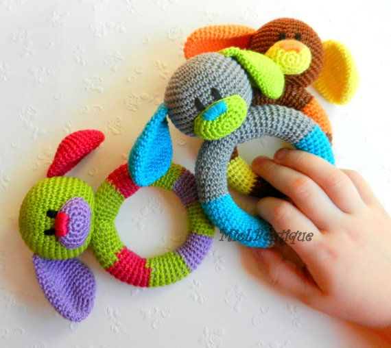 Baby toy Rattle Teething baby toy Grasping Teething Crochet Toys Dog ...