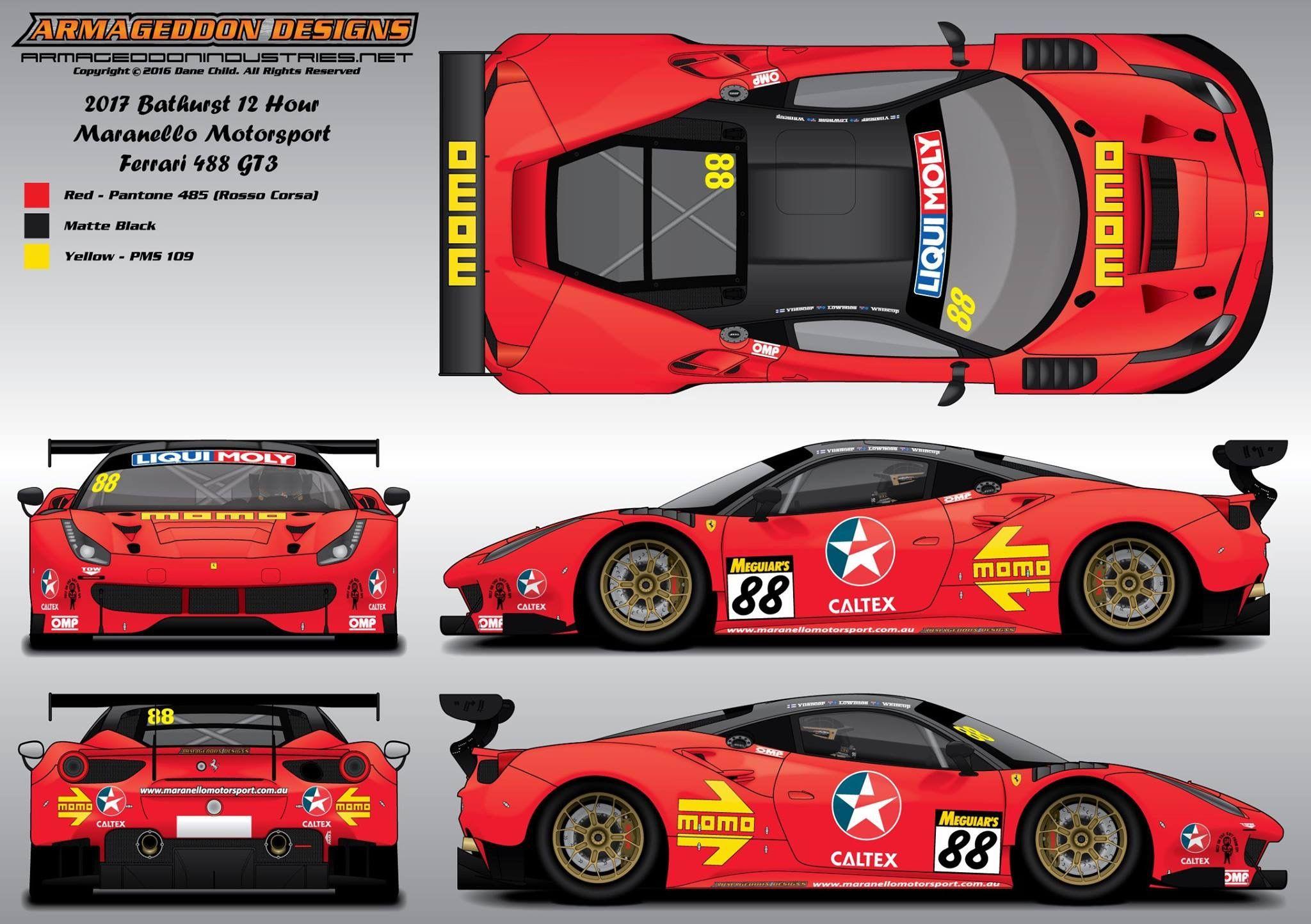 2017 Maranello Motorsport Ferrari 488 Gt3 Livery Design For The