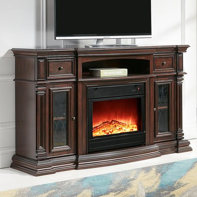 Fireplace Tv Stand Electric, Dark Cherry Wood Fireplace Tv Stand