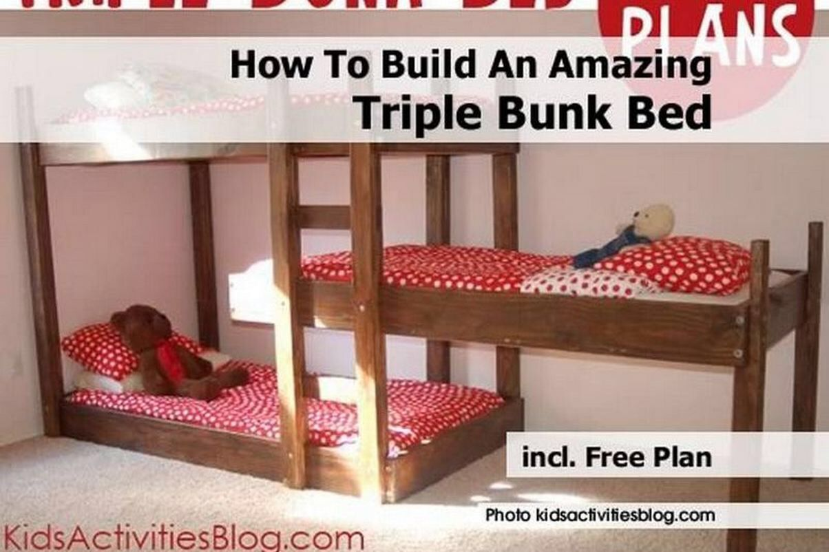 Great Layout For A Triplet Bunk Bunk Bed Plans Triple Bunk Beds Plans Triple Bunk Beds