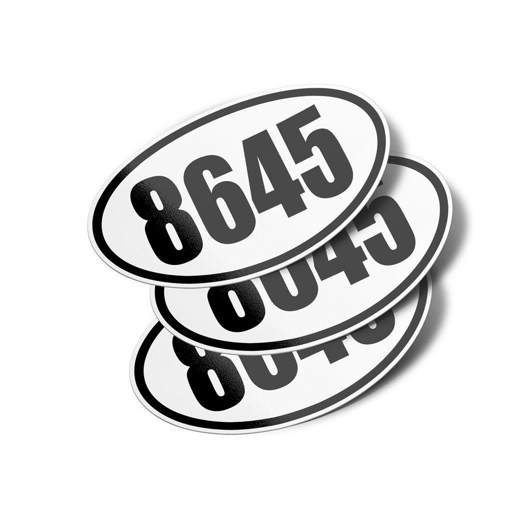 8645 Oval Vinyl Bumper Sticker Decals (3 Pack) Vinyl