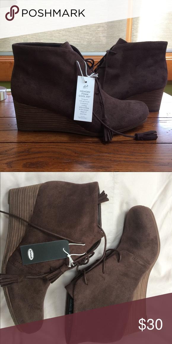 a823536d5f70 Dr. Scholl s Dakota bootie  never been worn Soft microfiber dark brown  colored Dakota bootie. Tasseled lace-up closure. Memory Foam Cool Fit  footbed.