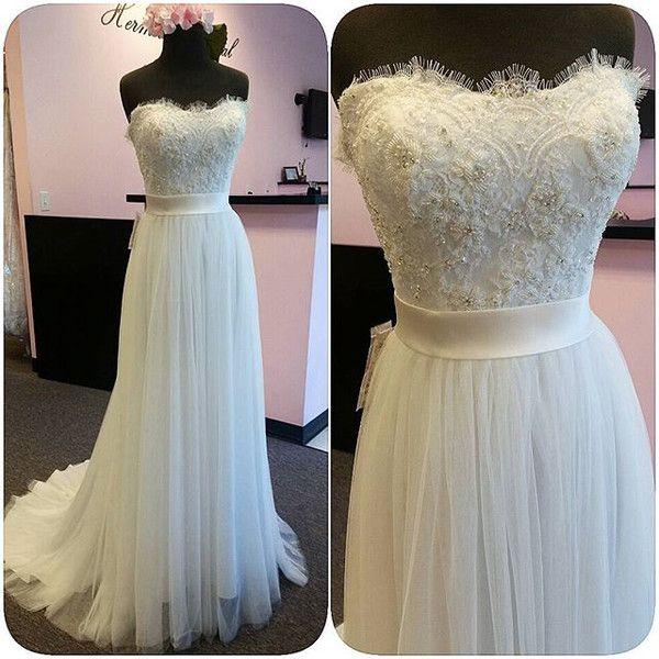Kleider - Elegant Lang Trägerlos Chiffon Weiß Hochzeitskleid - ein ...