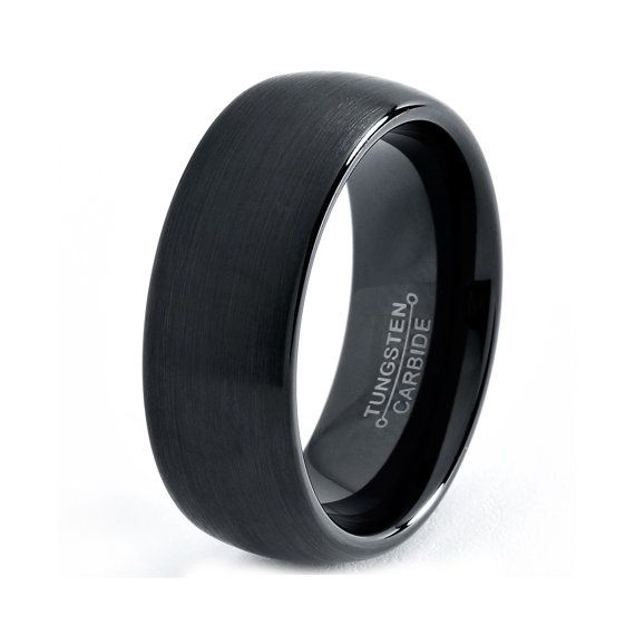 Mens Tungsten Carbide Wedding Band Ring 7mm 5 15 Half Sizes Black Enameled Brushed Center Rounded Comfor Black Wedding Rings Black Tungsten Rings Rings For Men