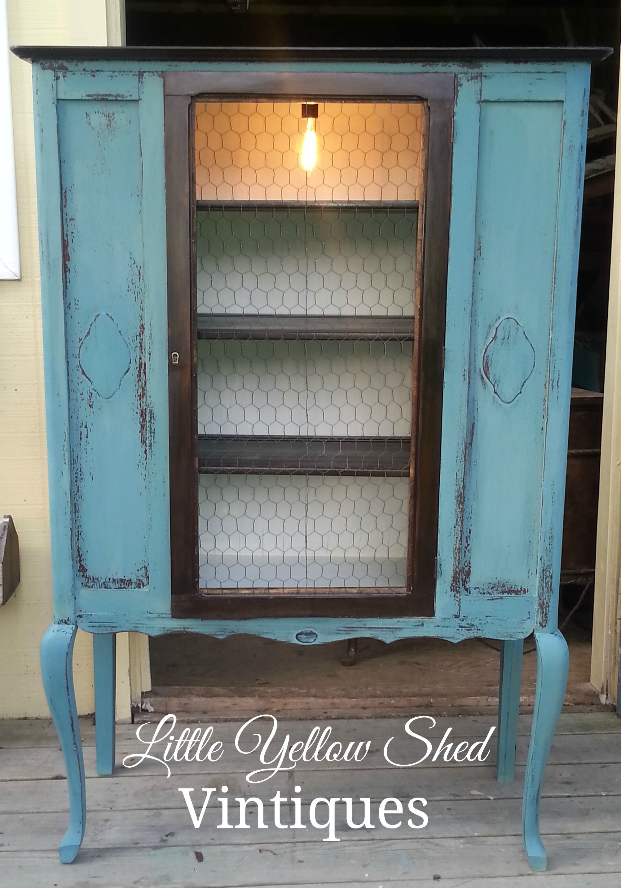 Vintage china cabinet refinished using Miss Mustard Seed s Milk