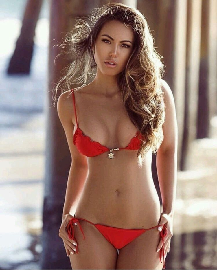 Beautiful young sexy russian bikini model stock photo