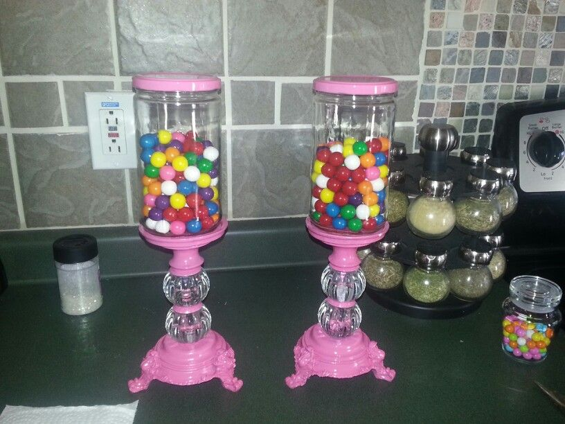 I Made These From Candle Sticks From Hobby Lobby And Spaghetti Jars Just Spray Paint A Fun Color And You Get Cu Apothecary Jars Decor Candy Crafts Cheap Candy