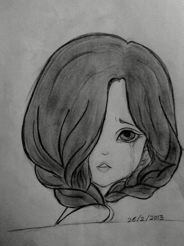 رسمه حزينه Art Simple Art Female Sketch