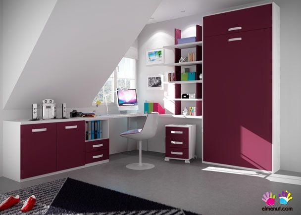 Dormitorio abuhardillado con abatible vertical camas for Abuhardillado