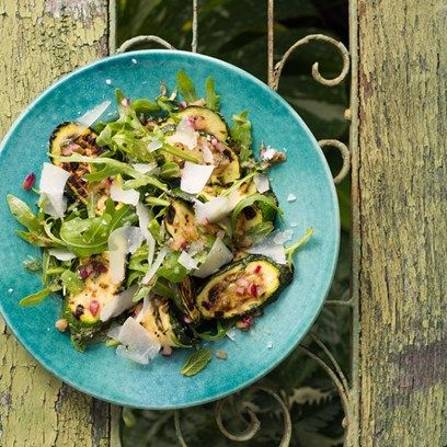 grilled courgettes, mint and pecorino