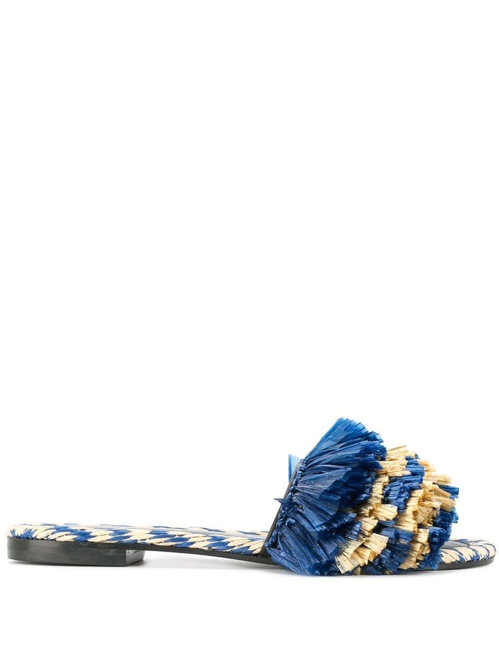 Blue and gold calf leather fringed slippers from Avec Modération.