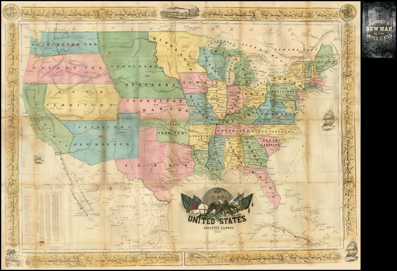The United States In 1854 More Old Maps Of The Us Maps On The - 1854-us-map