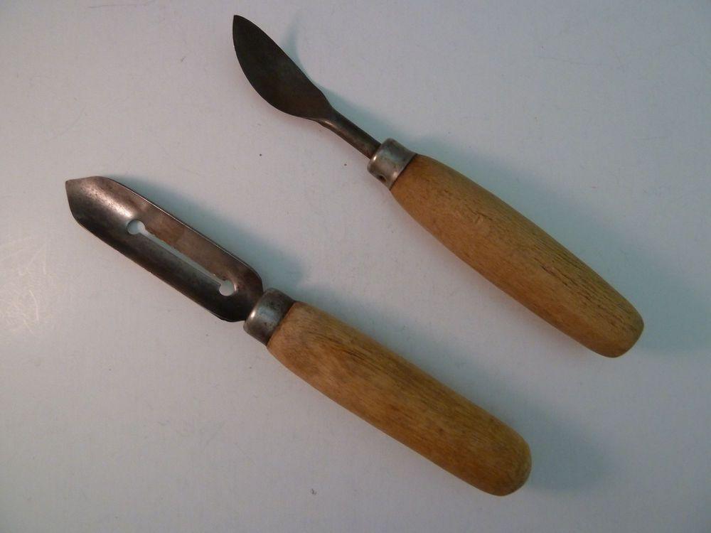 Primitive Potato Peeler Pitting Spoon Scoop Wood Handle