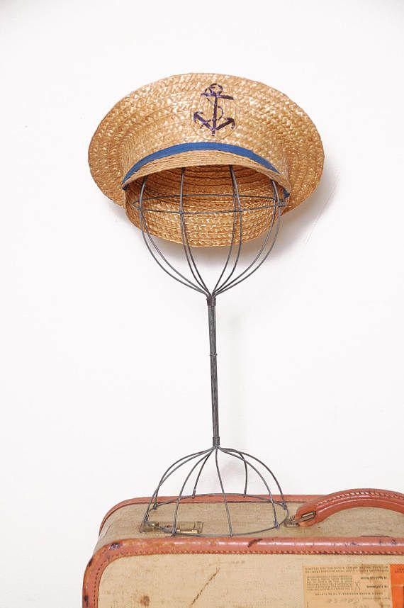 Vintage 50s straw captains hat / 50s straw cap / woven nautical cap