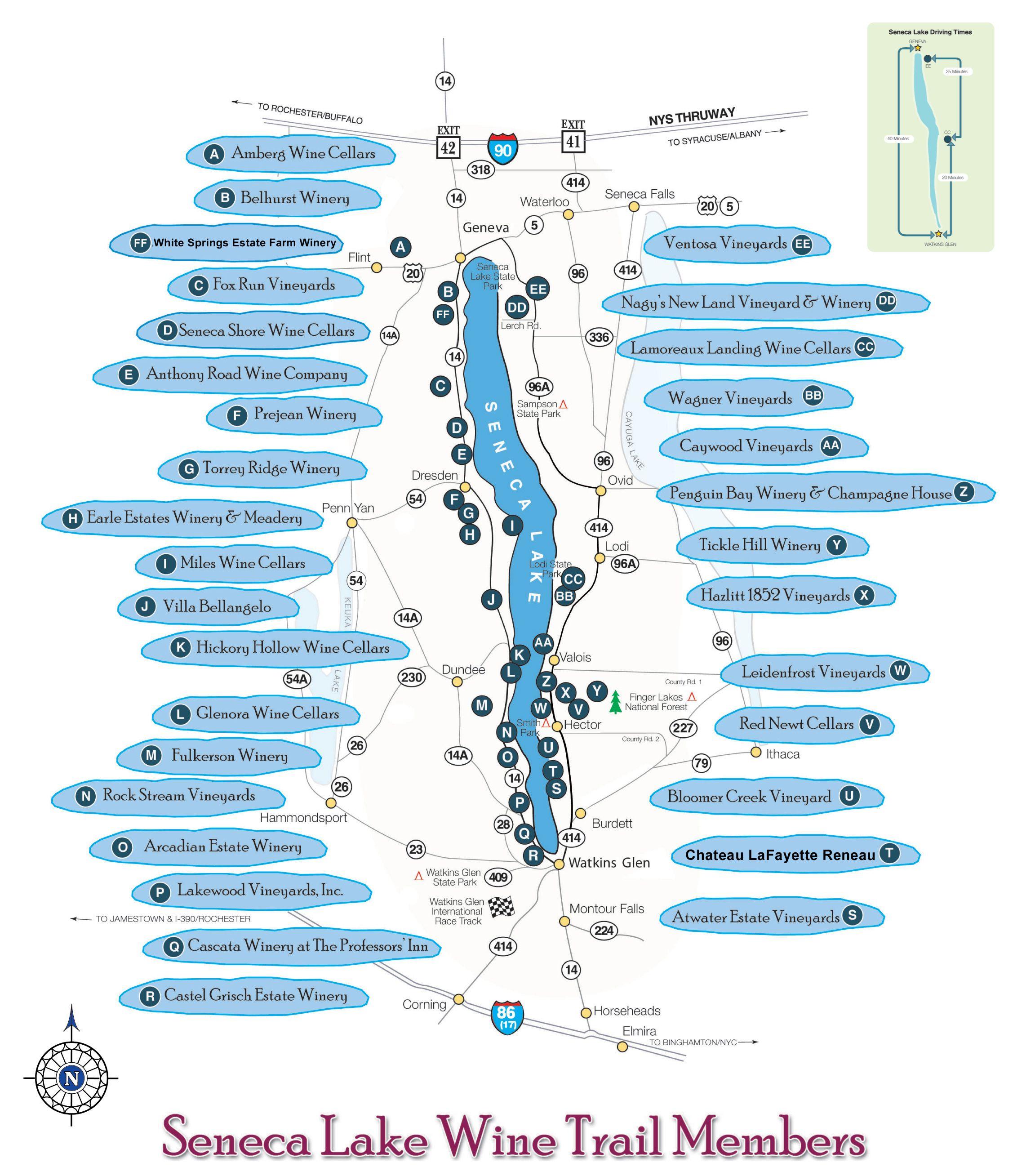 Map Of New York Wineries.Seneca Lake Wine Trail Map Seneca New York Mappery Future