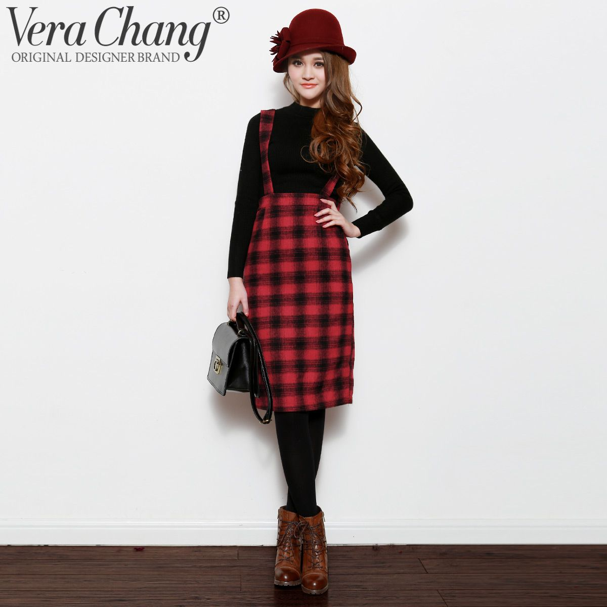 Autumn and winter women vera chang vintage 80s fashion plaid high waist woolen braces skirt one Fashion style in 80 s