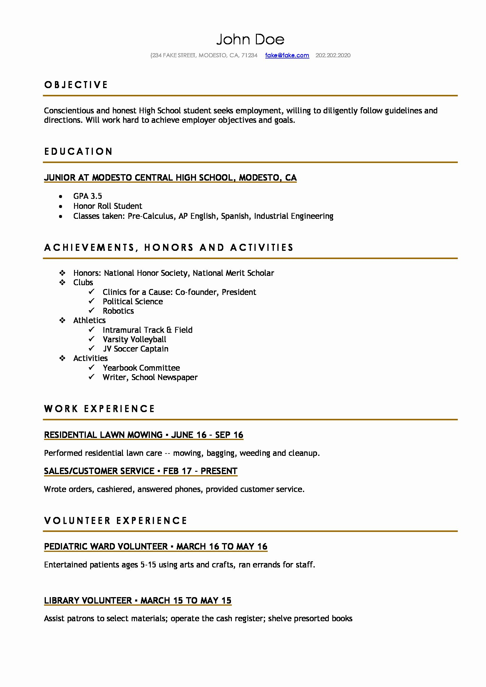 College Student Resume Template Fresh High School Resume