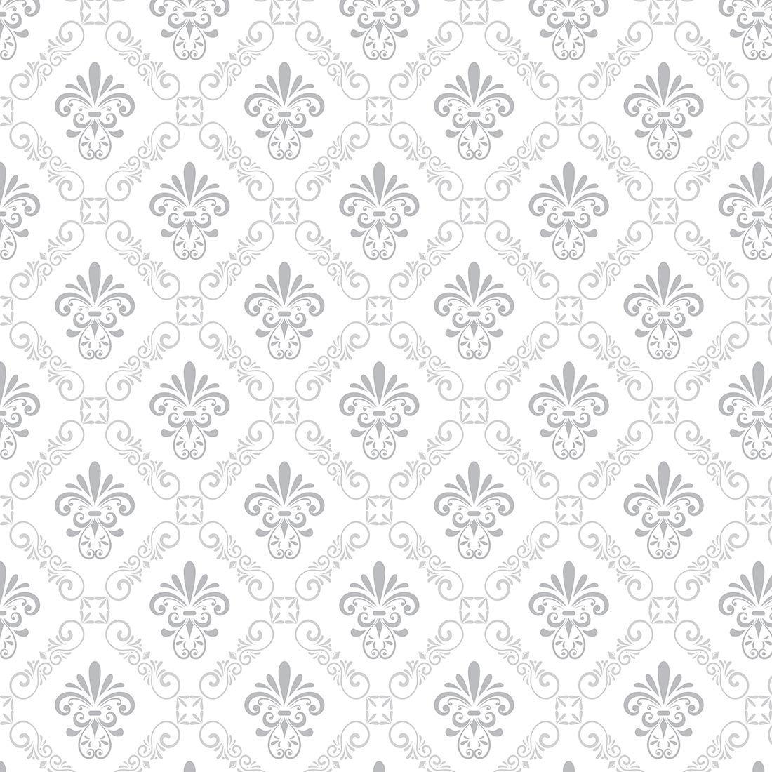 Papel de parede arabesco prata e cinza sobre branco - Papel pared ...
