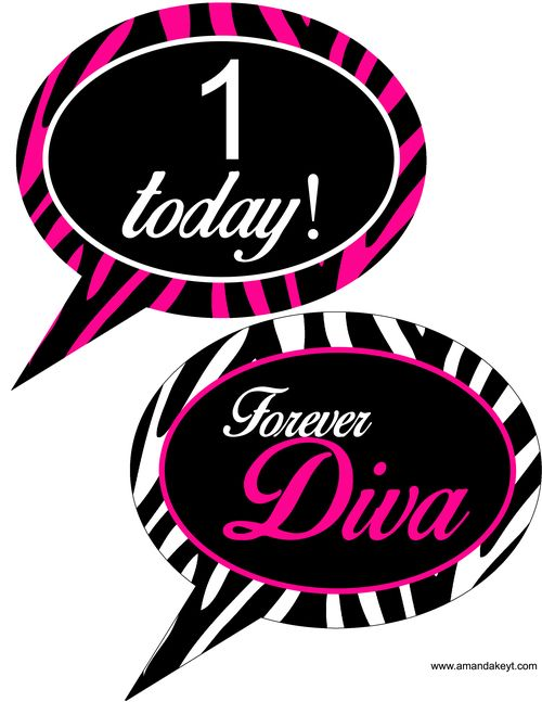 Speech Bubbles From Diva Birthday Printable Photo Booth Prop Set