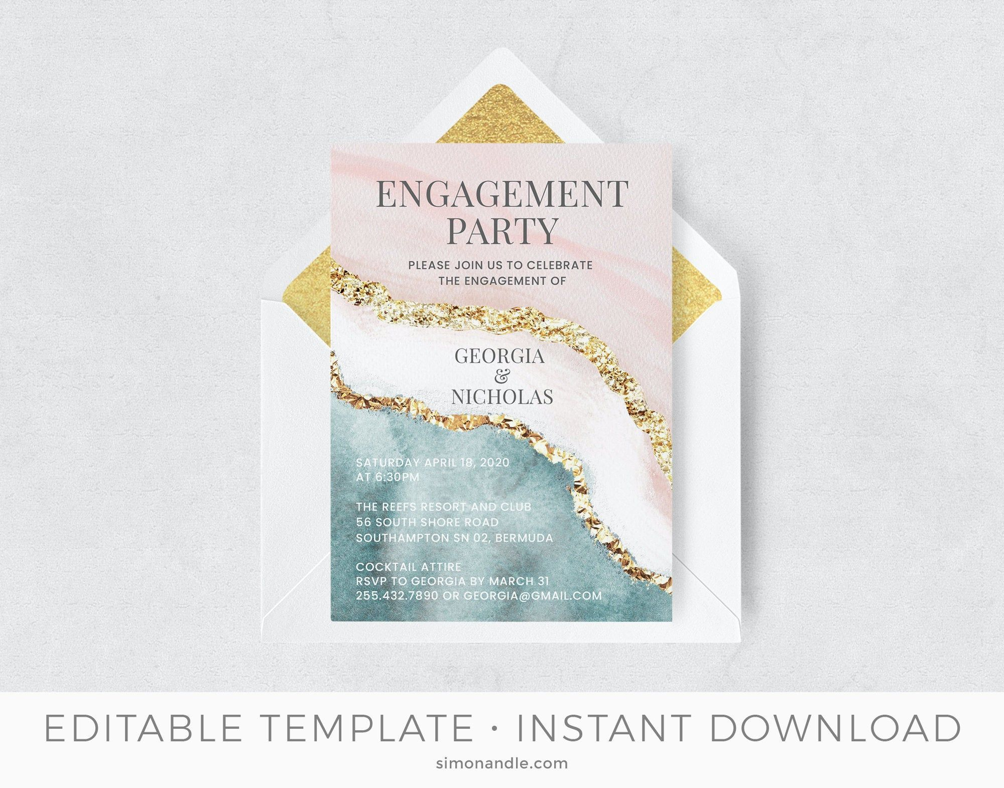 Beach Engagement Party Invitation Template Diy Ocean Pink Etsy Engagement Party Invitations Beach Engagement Party Engagement Invitation Template