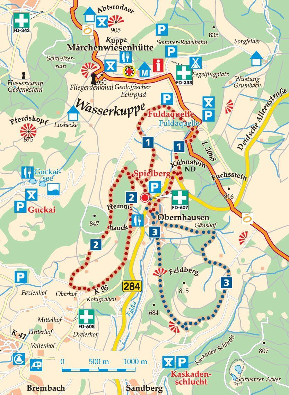 Rhon Rundweg 1 Spielberg Karte Wasserkuppe Fulda Berg