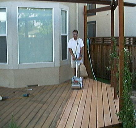 Deck Sanding With Drum Sander Sanding A Deck Deck Restoration Deck Paint